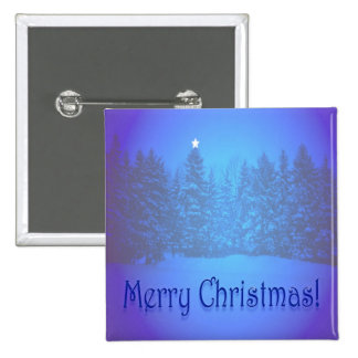 Blue Pines Star 2 Inch Square Button