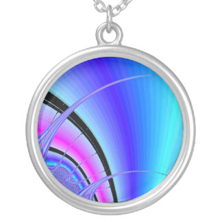 blue, pink and black round pendant necklace