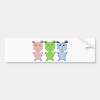 Blue, Pink and Green Bear Bumper Sticker