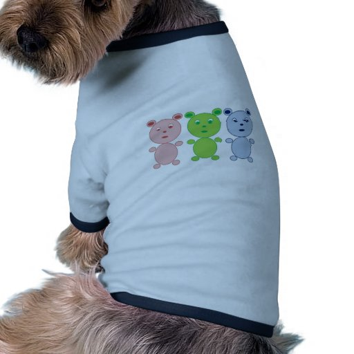 Blue, Pink and Green Bear Dog Tee