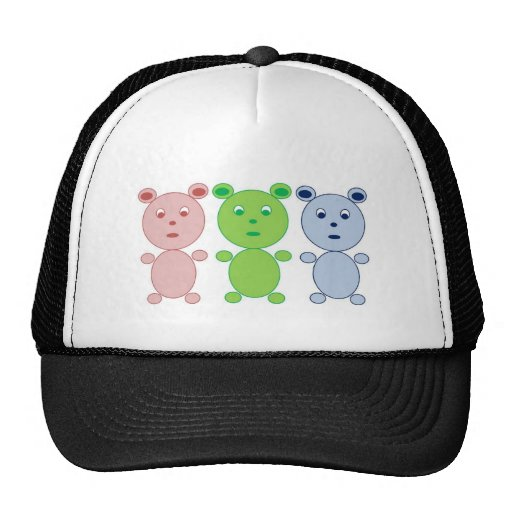 Blue, Pink and Green Bear Hats