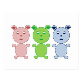 Blue, Pink and Green Bear Postcard