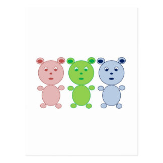 Blue, Pink and Green Bear Post Card
