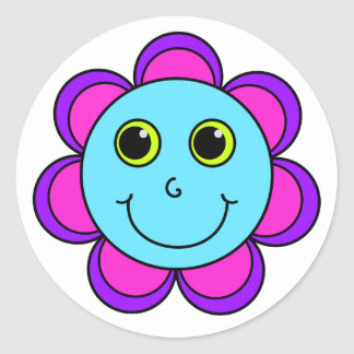 Blue Pink and Purple Flower Smiley Face Round Sticker