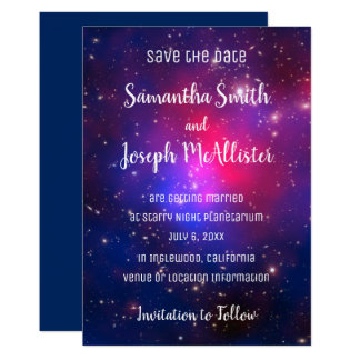 Blue Pink and Purple Space Image Save the Date Card
