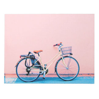 Blue Pink Bike Basket Bicycle Wheels Notepad