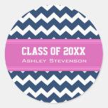 Blue Pink Chevrons Graduation Custom Name Round Stickers