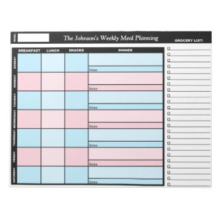 Blue & Pink Custom Weekly Meal Planning Notepad