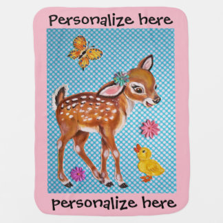 Blue & Pink Fawn Vintage Baby Blanket Personalize