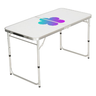 Blue/pink flower on white ping pong table. beer pong table