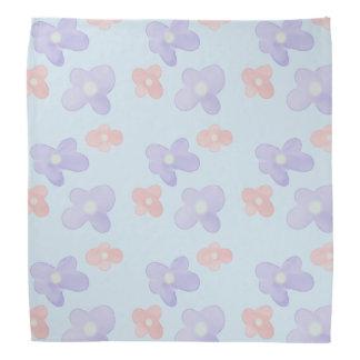 Blue Pink Flowers on pastel blue Bandana