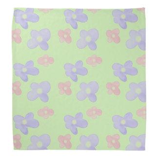 Blue Pink Flowers on pastel green Bandana