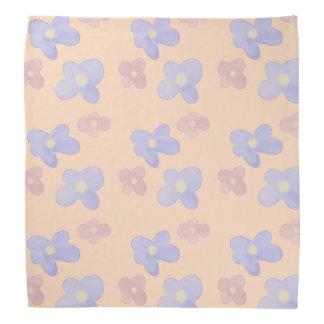 Blue Pink Flowers on pastel pink Bandana