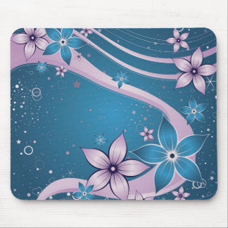 blue pink flowers - vector art mouse pad