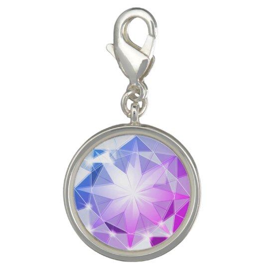 Blue Pink Gemstone Compass Rhinestone Look Charm