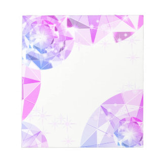 Blue Pink Gemstone Compass Rhinestone Look Notepad