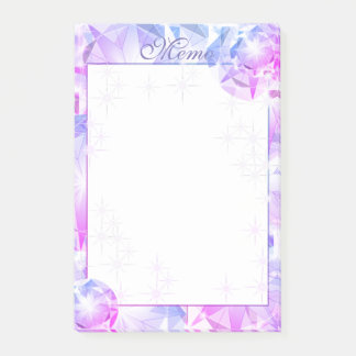 Blue Pink Gemstone Compass Rhinestone Look Post-it Notes