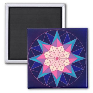 Blue Pink Geometric Star Magnet