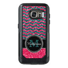 Blue & Pink Glitter Chevron Personalized Defender OtterBox Samsung Galaxy S7 Case