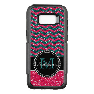 Blue & Pink Glitter Chevron Personalized OtterBox Commuter Samsung Galaxy S8+ Case