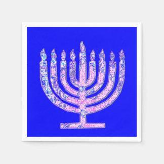 Blue Pink Hanukkah Menorah 4Hannah Paper Napkins