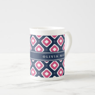 Blue Pink Ikat Mod Pattern with Name Tea Cup