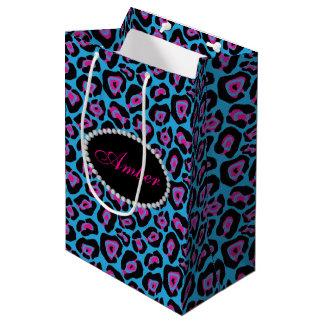 Blue & Pink Leopard Print Diamonds & Name Monogram Medium Gift Bag