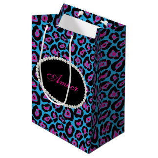 Blue & Pink Leopard Print Pearls & Name Monogram Medium Gift Bag