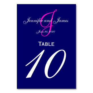 Blue Pink Monogram Wedding Table Number Card Table Card
