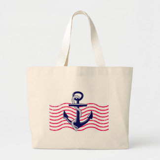 Blue & Pink Nautical Anchor Tote