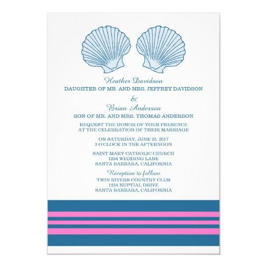 Blue Pink Nautical Seashells Wedding Invite