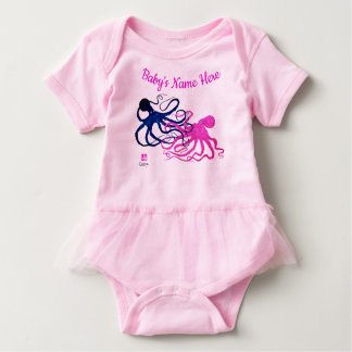 Blue & Pink Octos (Front & Back) - Tutu Bodysuit