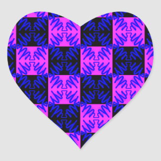 Blue Pink Optical Neon Design Illusion Pattern Heart Sticker