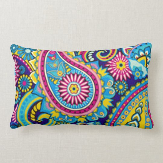 Blue Pink Paisley Pattern Print Design Lumbar Pillow