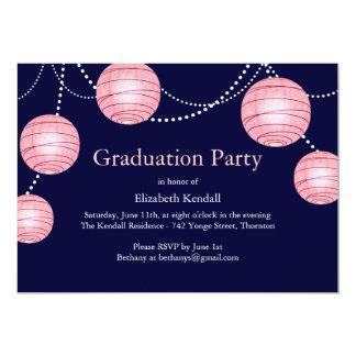 Blue & Pink Party Lantern Graduation Invitation