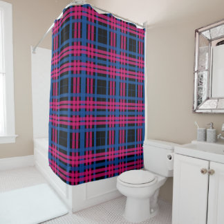 Blue & Pink Plaid Shower Curtain