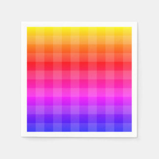 Blue pink purple red orange yellow plaid paper napkin