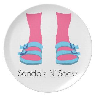 Blue/Pink Sandalz N' Sockz Plate