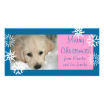 Blue Pink Snowflakes Dog Christmas Photo Card
