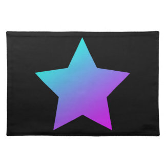 Blue/pink Star on black Placemat