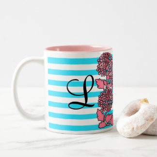 Blue/Pink Striped Pattern Floral Initial Cup