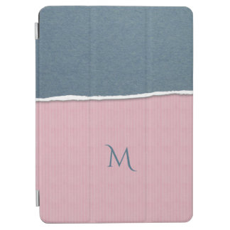 Blue & Pink Texture custom monogram device covers iPad Air Cover