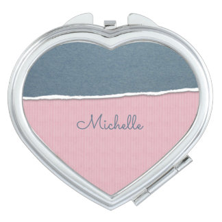 Blue & Pink Texture custom name pocket mirror Compact Mirrors