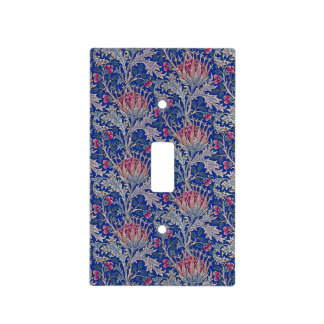 blue pink thistle light switch cover