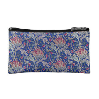 blue pink thistle makeup bag