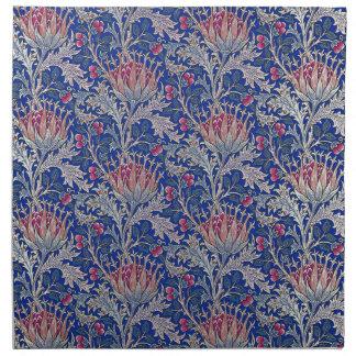 blue pink thistle napkin