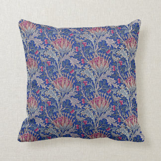 blue pink thistle throw pillow