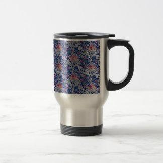 blue pink thistle travel mug