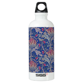 blue pink thistle water bottle