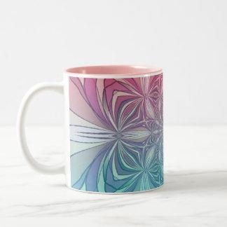 Blue Pink Vintage Abstract Geometric Pattern Mugs